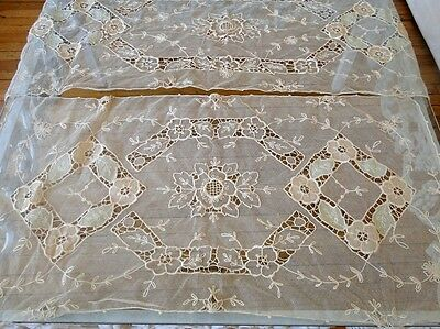 CIRCA 1920-30's TWO TAMBOUR LACE TABLE RUNNERS W/FLOWERS