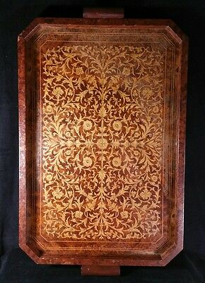 """Lg Antique Inlay Marquetry Serving Tray 22.5"""" x 15.25"""" Italian Or English FINE"""