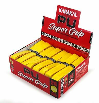 24 x Karakal Super PU Replacement Grips - Yellow - Squash or Badminton Length