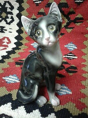 Chinese Porcelain Cat Signed