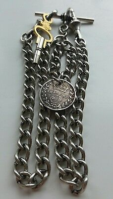 1895 Victoria Threepence Coin Fob Antique Silver Style Double Pocket Watch Chain