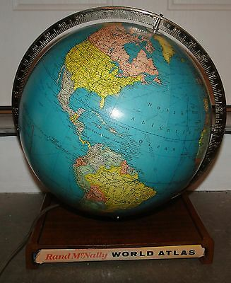 "Vintage Rand Mcnally Terrestrial 12"" World Globe Lamp Light + World Atlas"