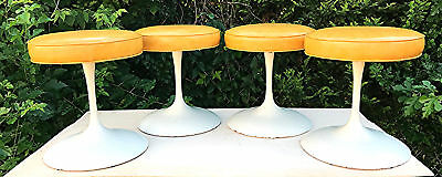 RARE SET of 4 MCM Eero Knoll Saarinen BR 51 K TULLIP SWIVEL STOOLS WATCH VIDEO