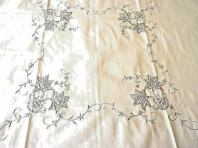 "VINTAGE TABLE CLOTH BEAUTIFUL ECRU EMBROIDERY 30"" by 30"""