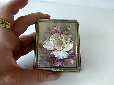 Stained Glass FOIL WHITE ROSE Mirror Jewelry Trinket Box floral