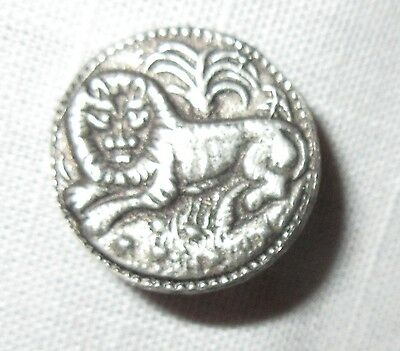 Vintage Pewter Picture Button Lion in Jungle - Metzke