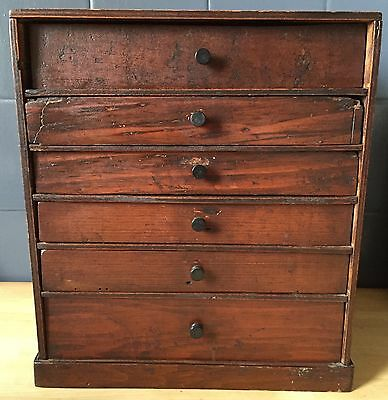 Small old antique set of drawers/collectors cabinet/stationery