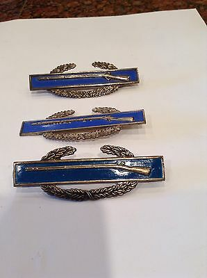 Lot Of 3 WW2 Sterling Blue Enameled Rifle Pins