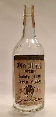 Vintage Old Mock Clear Quart Labeled & Embossed Whiskey Bottle Shively, Kentucky