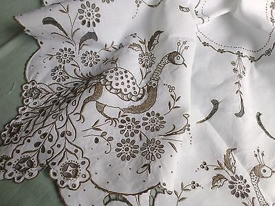 Vintage hand embroidered linen Madeira lace tea tablecloth 'peacocks'