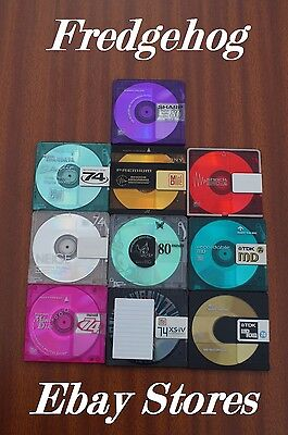 10 x TOP QUALITY 74 MINUTE BLANK MINIDISCS - ASSORTED BRANDS - WITHOUT CASES
