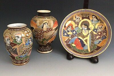 Set Of 3 Antique Hand Painted Japanese Satsuma Vases Saucer Early 20th Century
