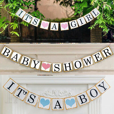 Its A Boy/Girl Baby Taufe Party Geburtstag Fahnentuch Girlande Wandbehang Banner