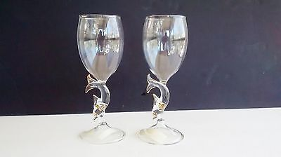 Set Of Handcrafted Vintage Dolphin themed 8 oz Glass Wine Glasses By L & S Arts