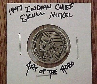 1947 Indian Chief SKULL Warrior Hand Carved original Hobo Nickel coin ohns 1304