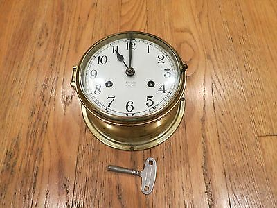 ANTIQUE FULTON ADMIRALTY SHIP'S BELL CLOCK GERMANY w/KEY – FOR PARTS OR REPAIR