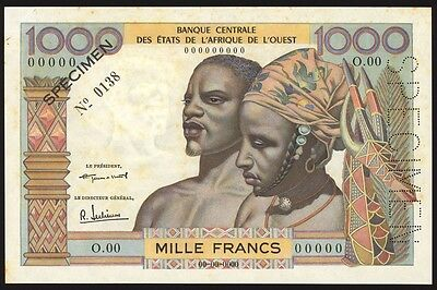 West African States 1000 Francs Specimen P4s About Uncirculated