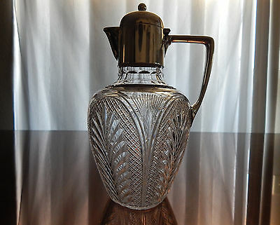 123 yrs. old ANTIQUE cut glass pitcher with sterling solid silver top & handle.