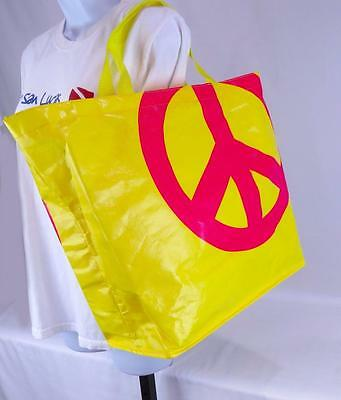 Peace Sign Tote Shopping Bag Reusable Yellow Pink Recycled Material 14 x 15