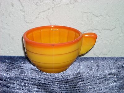 Akro Agate Large Stacked Disc and Interior Panel Cup  Pumpkin