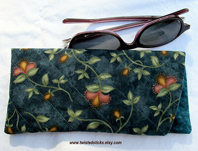 Quilted Eye Glass Case, Eye Glass Holder, Eye Glass Pouch, Teal with flowers