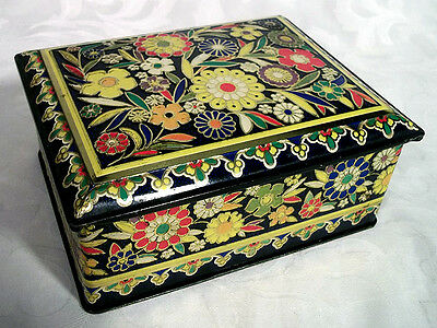 Vintage floral hinged tin container made in England