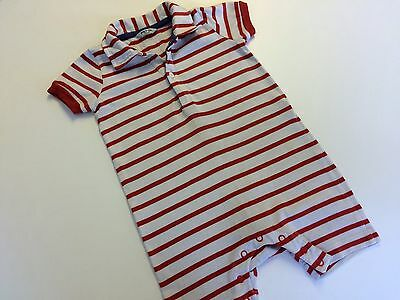 Boys Baby Boden All In One Summer Suit 12-18 Months Red And White Stripe