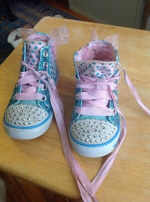 skechers twinkle toes high top Tennis Shoes toddler 6 Preowned Pink Blue