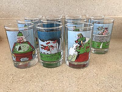 Gary Patterson 1982 collectible set of 11 Arby's 12 oz drinking glasses