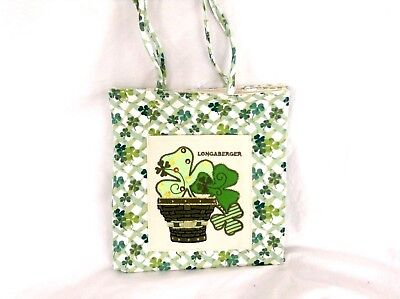 St Patrick Day Sequin Purse Tote Shamrock Lots of Luck Fabric Longaberger LAST 1