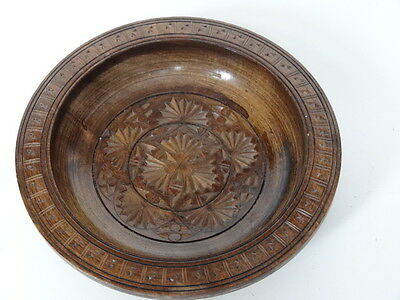 Vintage Floral Flower Design Carved Wooden Bowl