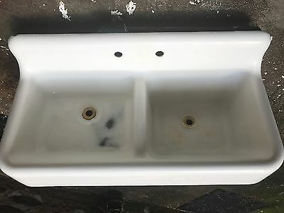 ANTIQUE 1934 STANDARD CAST IRON & PORCELAIN Double Bowl Farmhouse Kitchen Sink