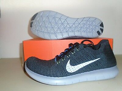 New mens Nike Free RN Flyknit Black White Ocean Fog Running Shoes sz 11