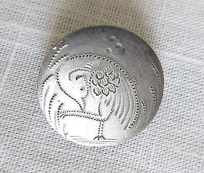 Uncommon Antique Chased Steel Picture Button Shore Bird or Peacock