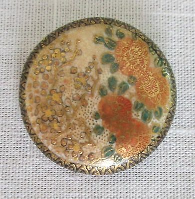 Antique Satsuma Button Flowers Heavy Gold Decoration Old Shank Backmark