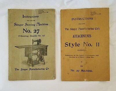 1902 Singer Sewing Machine No. 27 Instructions & Attachments No. 11
