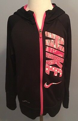 Girl's Nike Therma Fit Hoodie Size Medium Zip Front Pockets Black Pink
