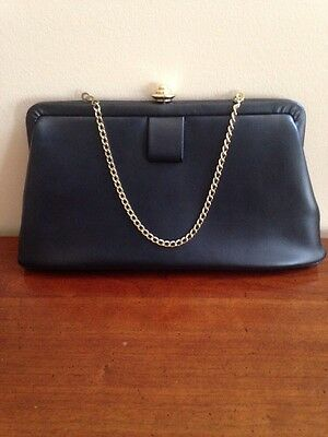 Vintage Black Clutch Purse With Gold Chain