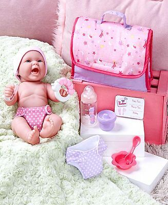 12pc LA NEWBORN ® REAL LIFE BABY DOLL w DIAPER BAG Bottle Hat Birth Cert Cup Toy