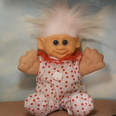 "HYI 12"" plush 1992 red hearts TROLL DOLL: lt. pink hair/white rose"