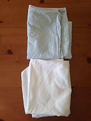 2 X Cot Pillow Cases Blue And White