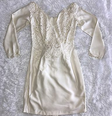 Jessica McClintock Ivory Beaded Vintage Fitted Special Occasion Dress, 10