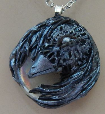 Raven Moon Pendant Necklace Jewelry Handmade NEW Hand Sculpted NEW Clay