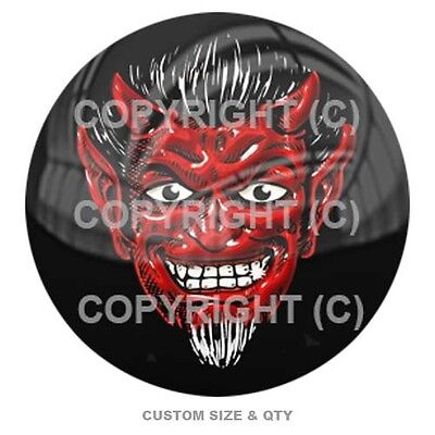 Premium Glossy Round 3D Epoxy Gel Domed Decal Indoor & Outdoor Use - Red Devil
