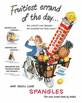 Vintage Fruit Spangles Advertising Poster A3 / A2  Reprint