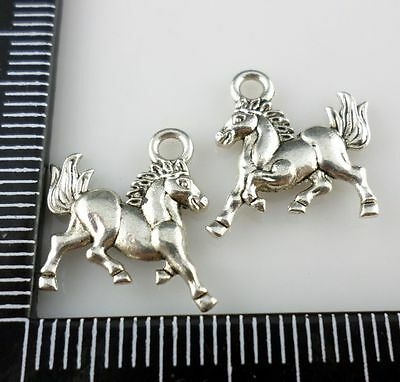 30pcs Tibetan Silver Horse Charms Pendants DIY Jewelry Making 15x14mm
