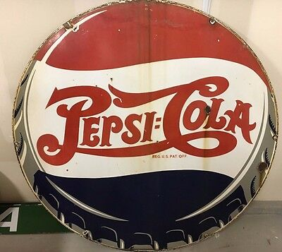 "Vintage Original 40's Pepsi Cola Porcelain Dsp 42"" Sign"