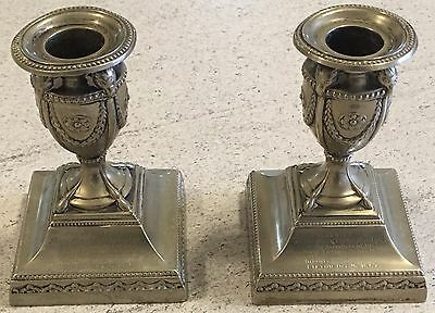 Silver 1887 Devon Candlesticks Lifton Inscription Antique Pair Of Plated