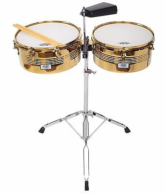 """AM Percussion Libre GX2 GOLD CHROME 13"""" 14"""" Timbale Set with Stand + Cowbell"""