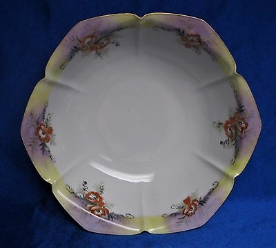 Vintage Hand Painted Porcelain Bowl Japan?  Six Pointed Panels Gold Trim Poppies